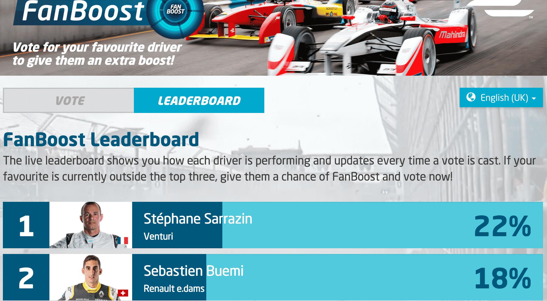 Formula E FanBoost schermata