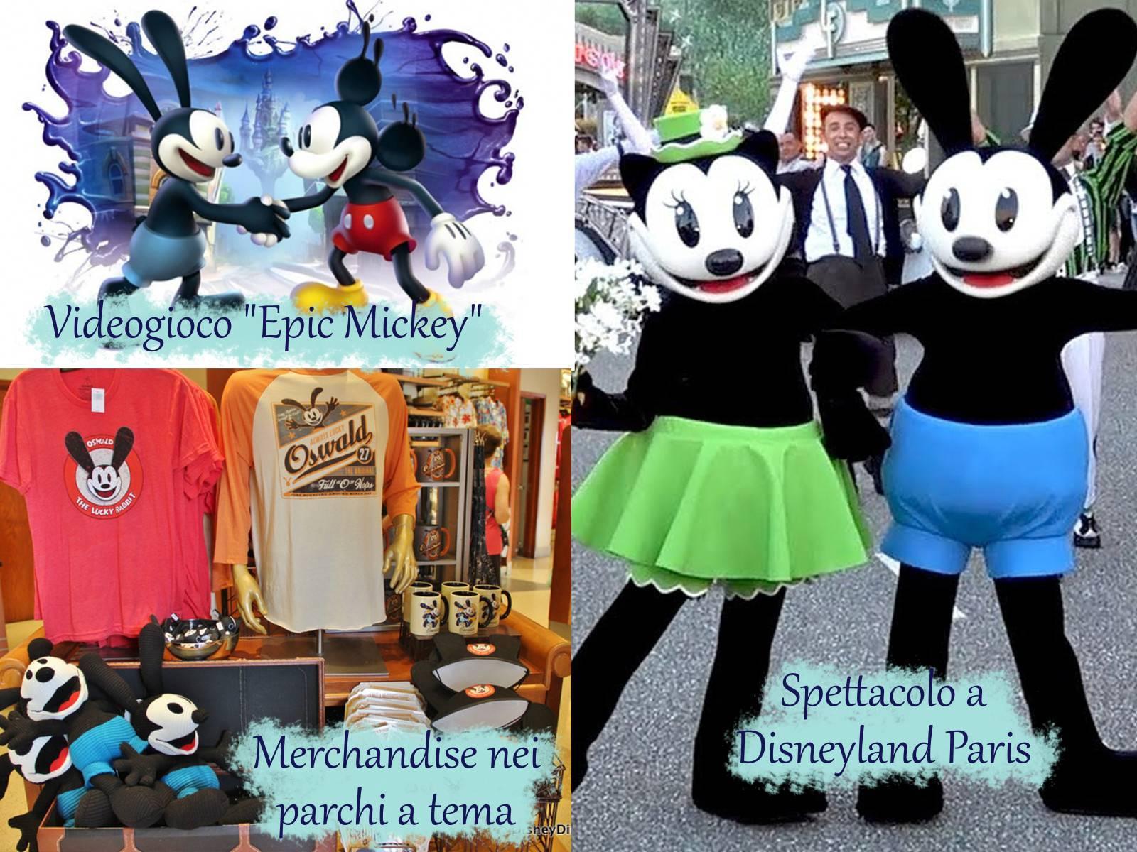 """Oswald il coniglio fortunato in tre foto: copertina del videogioco """"Epic Mickey"""", merchandise dei parchi a tema e spettacolo a Disneyland Paris."""