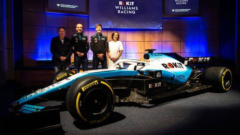 presentazione Williams fw42 Robert Kubica, George Russell Claire Williams