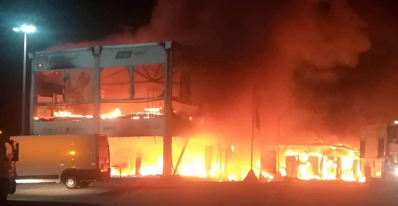 MotoE incendio a Jerez - Il momento dell'incendio