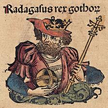 Un re dalla lunga barba è ritratto con lo scettro e la corona. Si tratta del re Vichingo che secondo le leggende invase Parigi il 28 marzo 845