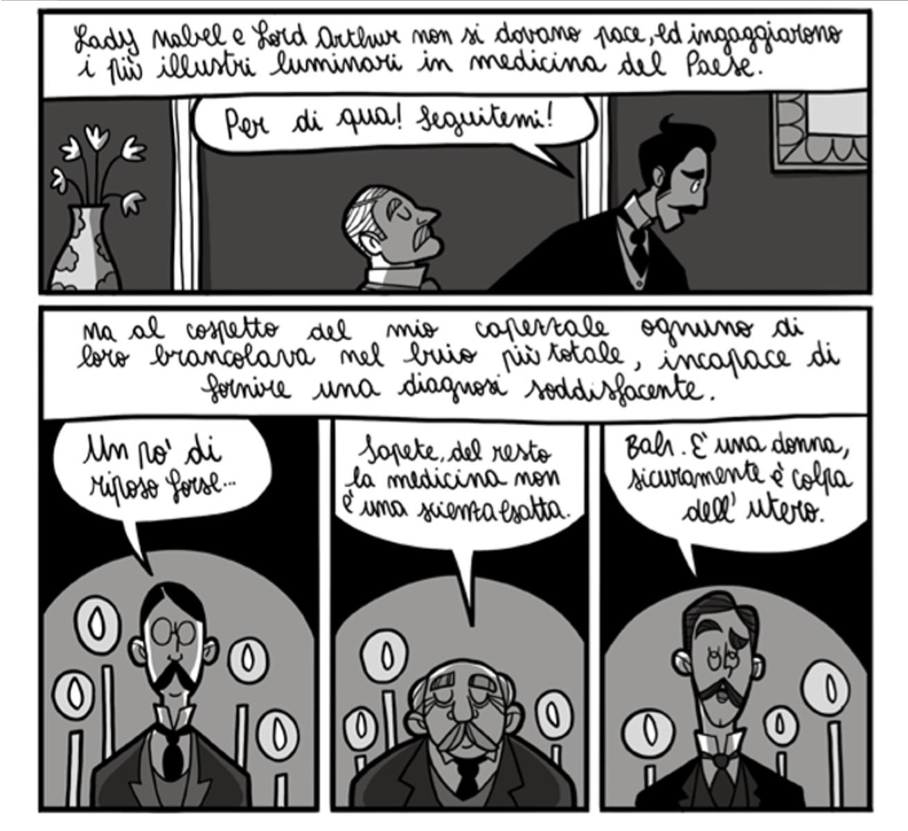Due vignette dal fumetto Abigail con i medici dell'epoca.