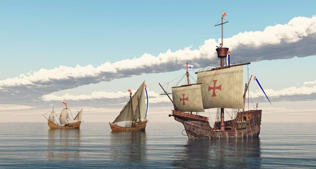 Le tre Caravelle:  Santa Maria, Nina e Pinta  ricostruzione 3D - immagine web idi di marzo