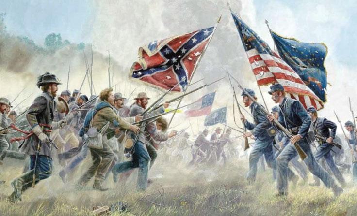 Il confine tra tragedia e pace - Dipinto che rappresenta la Guerra di secessione americana - immagine dal web