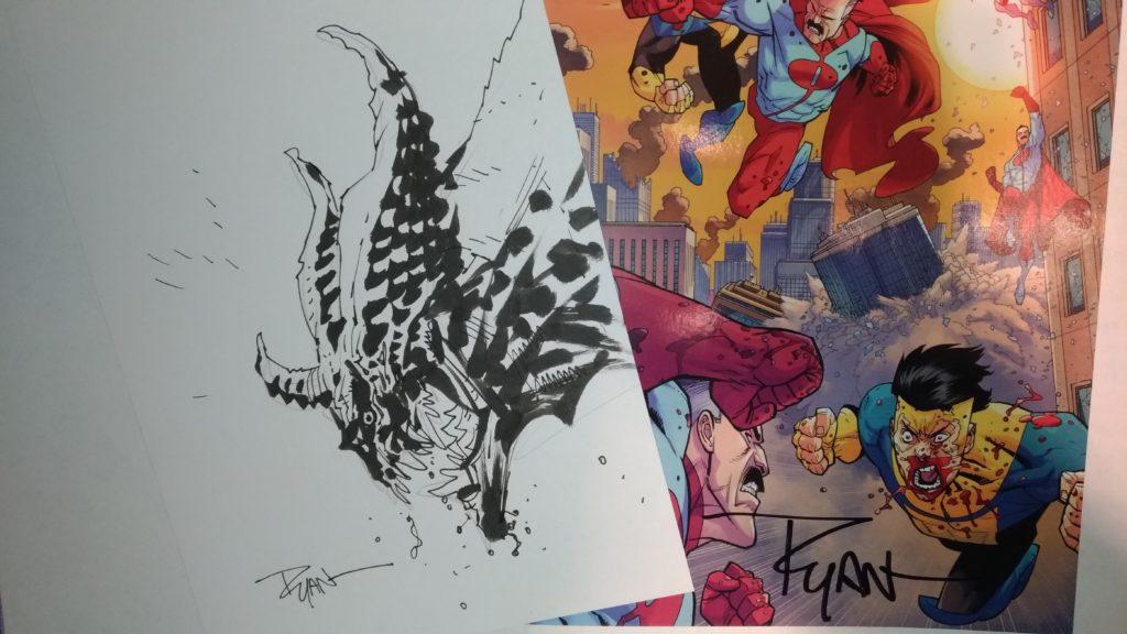 (Se incontri Ryan Ottley non te lo fai autografare un fumetto di The Invincible? E non te lo fai disegnare un mostro?)