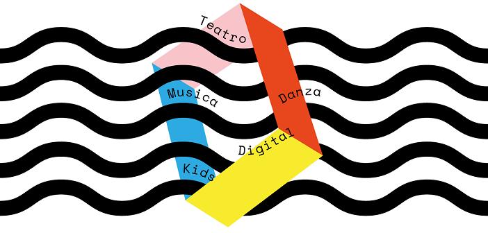 """Logo del Romaeuropa Festival: delle onde disegnate attraversano una figura romboidale i cui spigoli sono parallelepipedi di diverso coloro. Tra le onde le aprole """"Teatro"""", """"Musica"""", """"Danza"""", """"Digital"""" e """"Kids"""""""
