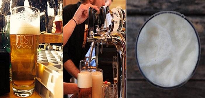 FrankenBierFest: vediamo un bicchiere pieno, un barman che spilla birra da una spina e un bicchiere visto dall'alto, con la schiuma in evidenza