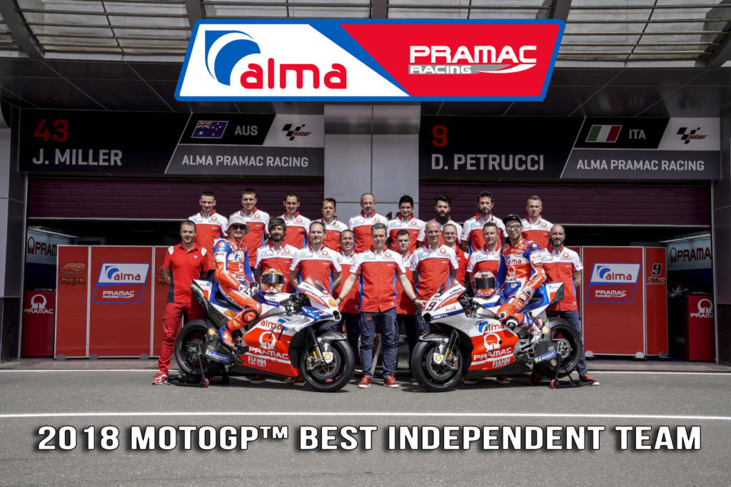 Pramac Racing premiato come Best Independent Team 2018