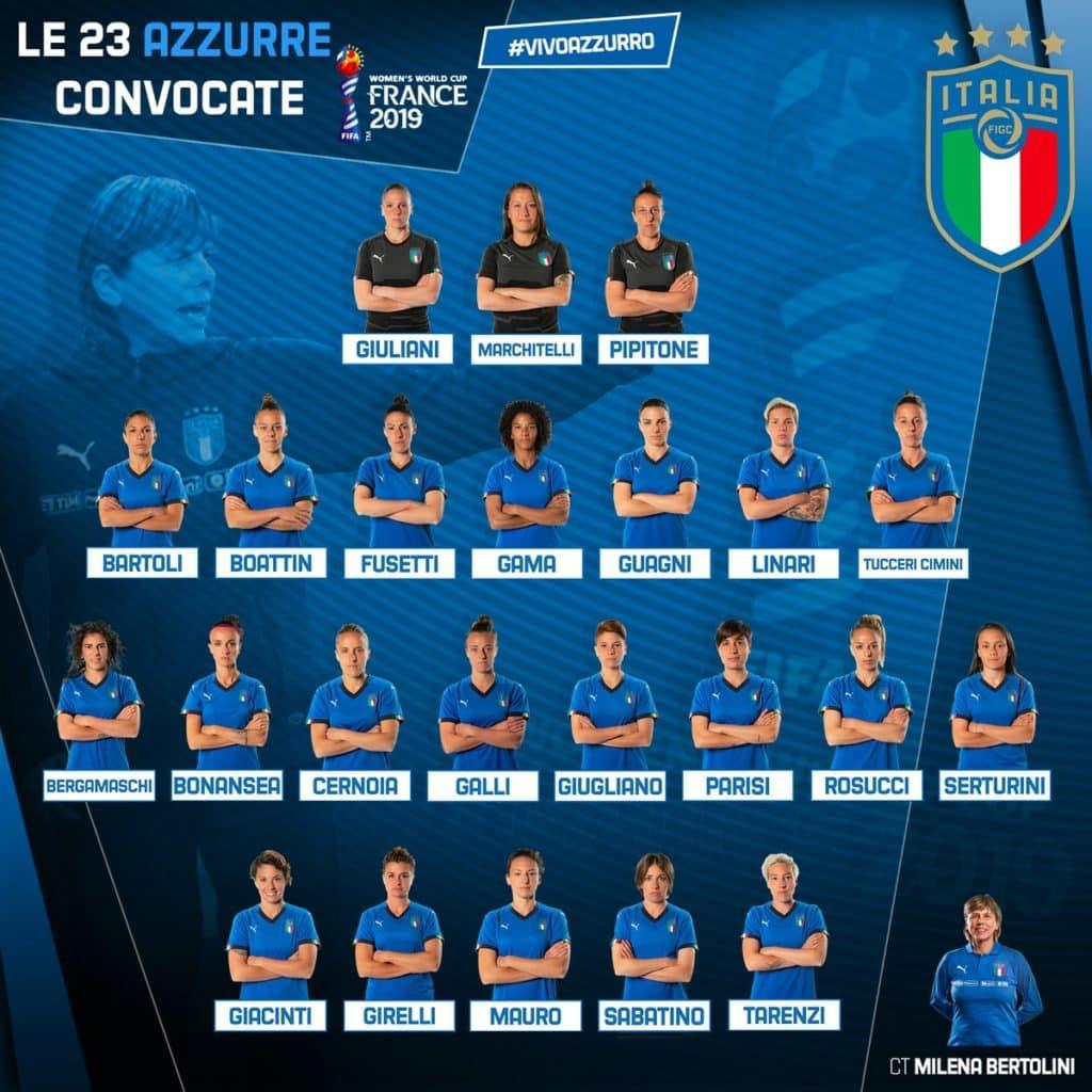 """""""Le 23 azzurre convocate – Photo Credit: urbanpost.it"""" le azzurre della nazionale di calcio"""