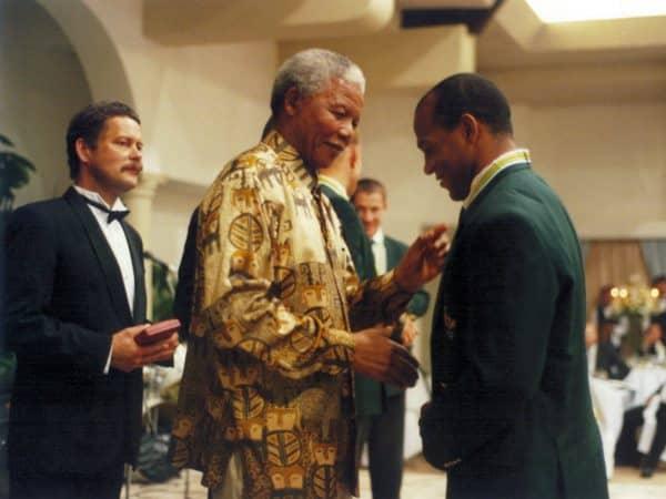 Chester Williams con il presidente Nelson Mandela