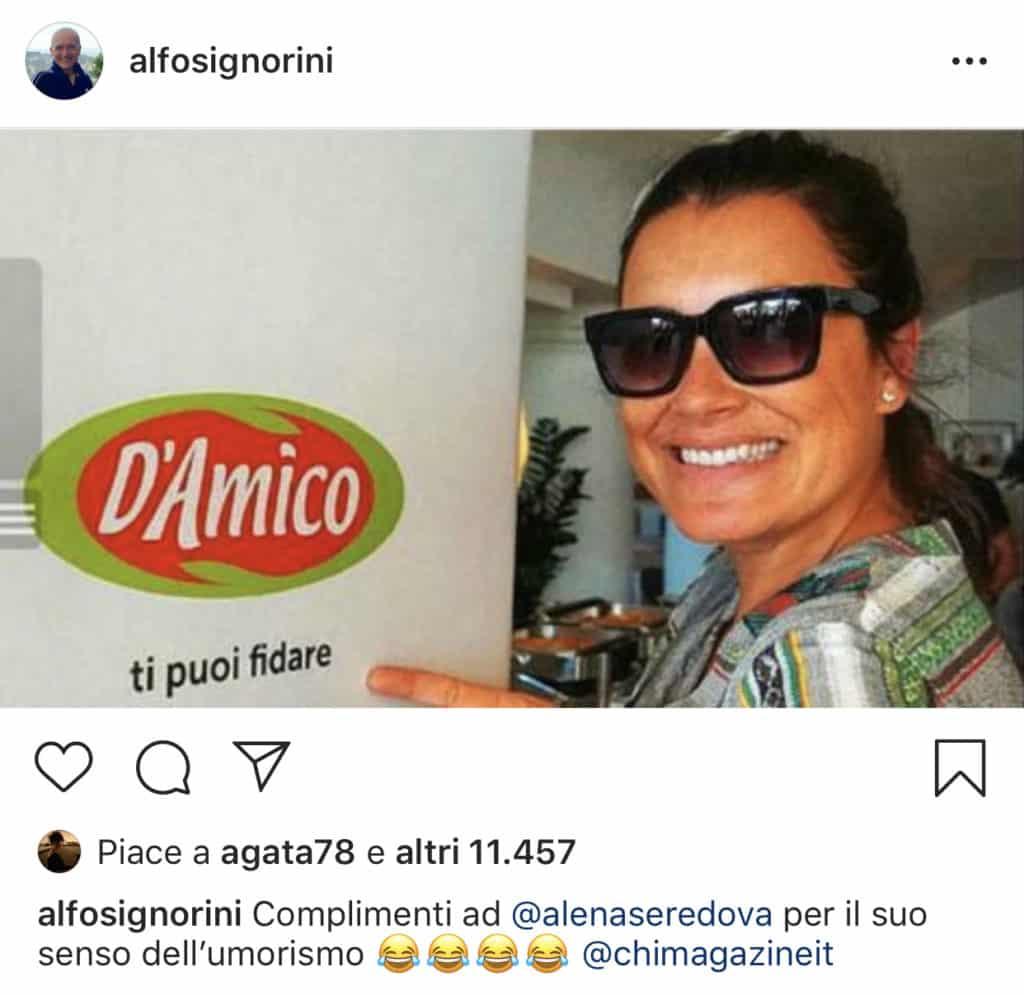 """""""Il selfie pubblicato su Instagram con il commento di Alfonso Signorini – Photo Credit: Instagram""""   alena seredova"""