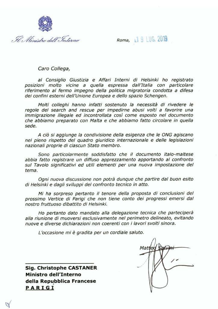"""""""La lettera di Matteo Salvini a Cristophe Castaner  – Photo Credit: www.storiepoliziapenitenziaria.it""""  migranti"""