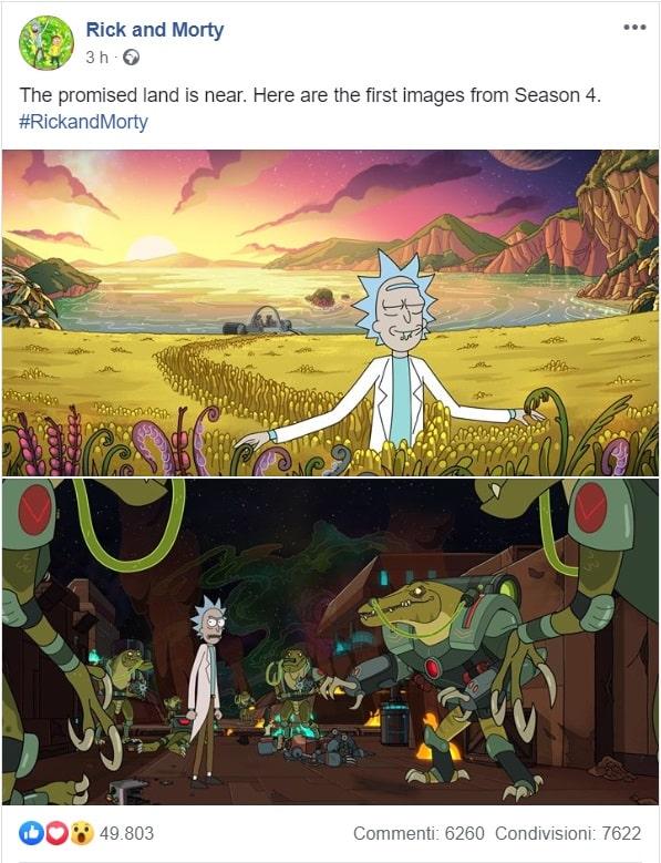 Post su Facebook della pagina ufficiale di Rick and Morty che mostra le prime immagini della quarta stagione in arrivo a novembre 2019