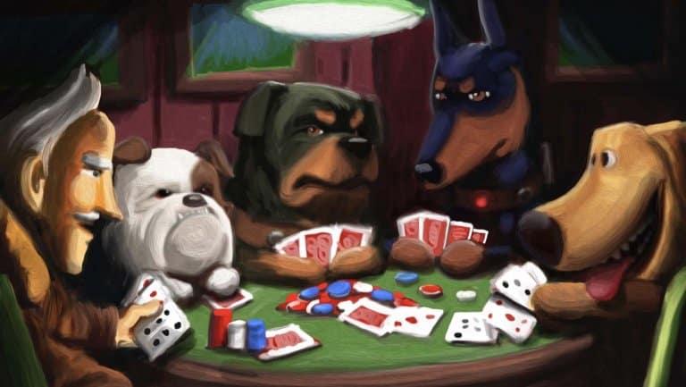 """I cani di """"Up"""" nel quadro con il tavolo da gioco."""